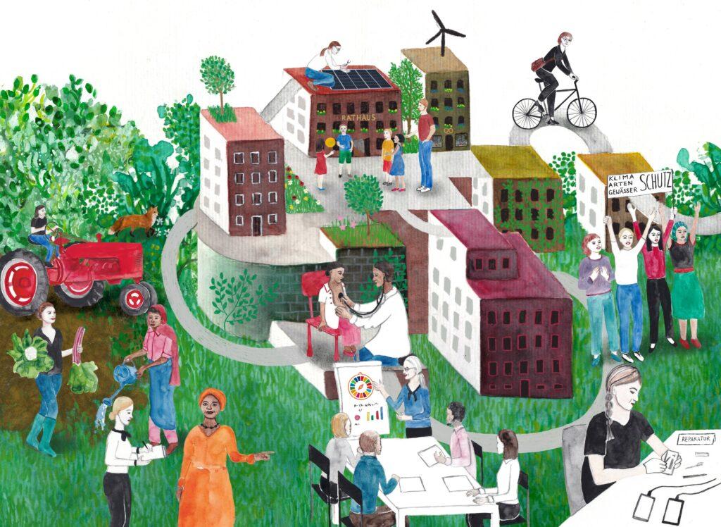 Illustration von einer Gemeinde. Frau auf Rad, Frau montiert PV-Anlage auf Rathausdach, junge Frauen setzten sich für Klimaschutz ein, reparieren ihre Handys. In der Mitte sitzten Frauen und Männer an einem Tisch und diskutieren die SDGs.